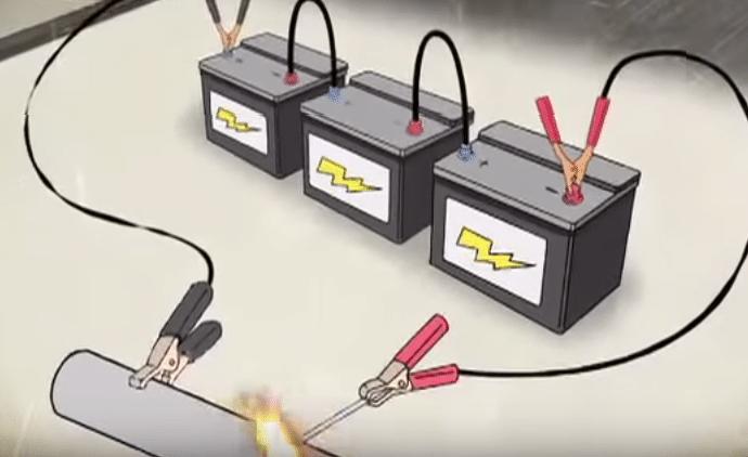 ηλεκτροκόλληση με μπαταρίες αυτοκινήτου