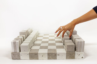 σετ σκακιού από τσιμέντο (bauhaus)