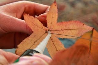 φωτιστικό από κλαδιά και φύλλα δέντρων