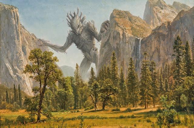 """Ένα από τα τέρατα ταινιών Kaiju στον πίνακα """"Bridal Falls of Yosemite Valley"""" του Albert Bierstadt"""