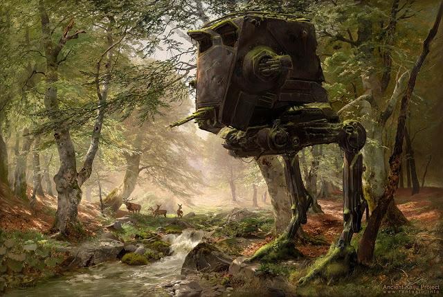 """Ένα παρατημένο AT-ST από τη σειρά ταινιών Star Wars στον πίνακα """"The Forest"""" του Heinrich Böhmer"""