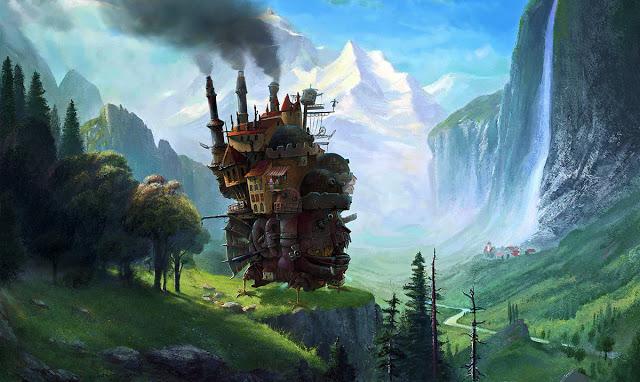 "To Howl's Moving Castle, από την ομώνυμη ταινία του Miyazaki στον πίνακα ""Staubbach Falls"" του Albert Bierstadt"
