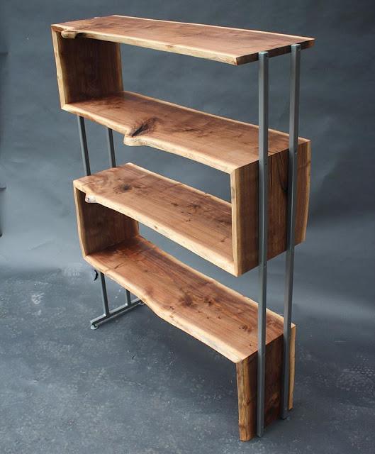 ρουστίκ ραφιέρα με σίδηρο και ξύλο καρυδιάς