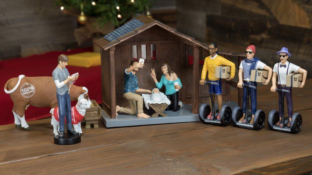 μοντέρνα χίπστερ φάτνη για τα Χριστούγεννα