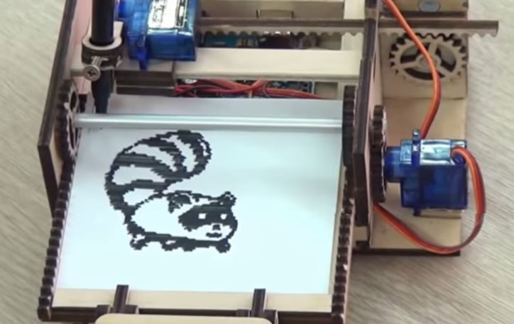 Ξύλινος εκτυπωτής με Arduino και σερβοκινητήρες