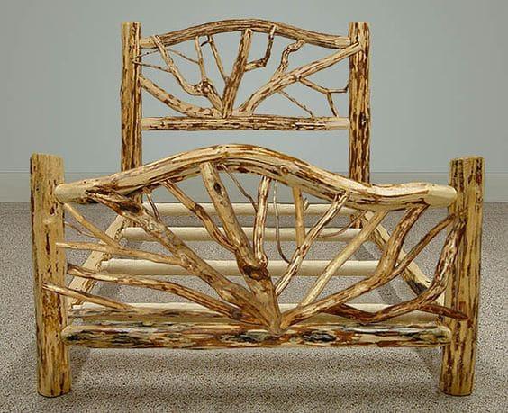 ρουστίκ κρεβάτι με κλαδιά