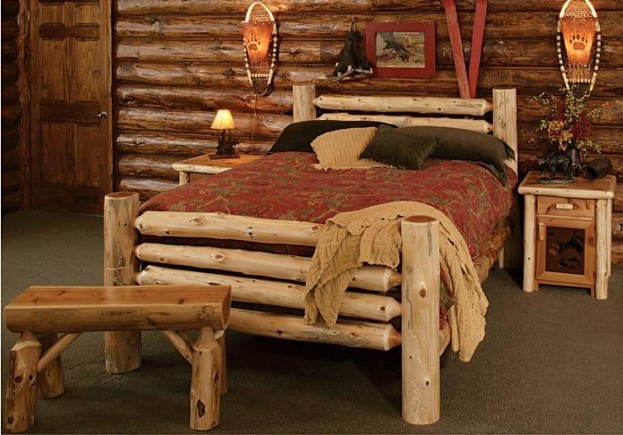 ρουστίκ κρεβάτι από κορμούς