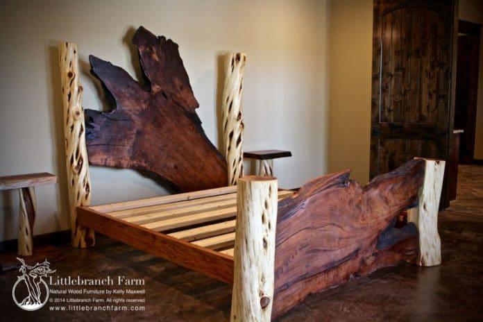 ρουστίκ κρεβάτι από φέτες κορμού δέντρου