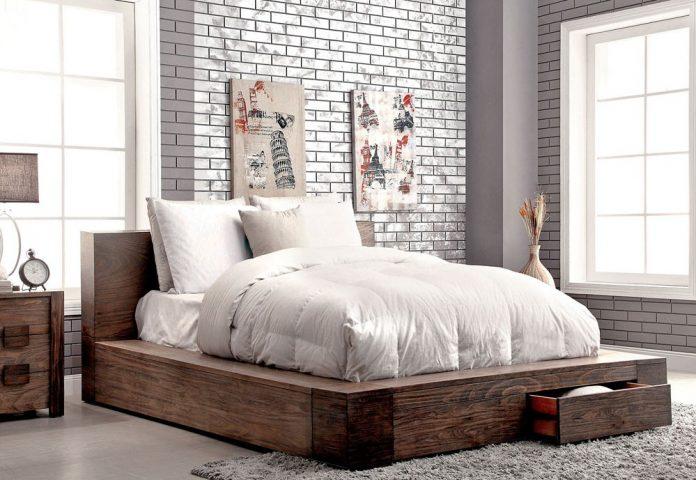 μοντέρνο ρουστίκ κρεβάτι