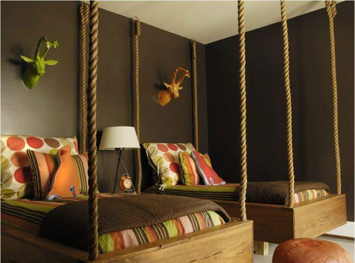 ρουστίκ κρεβάτι με σχοινιά