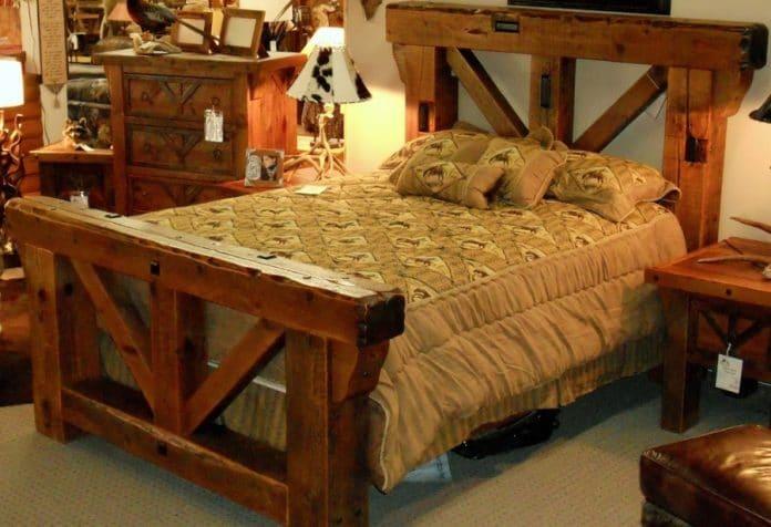 κλασσικό ρουστίκ κρεβάτι