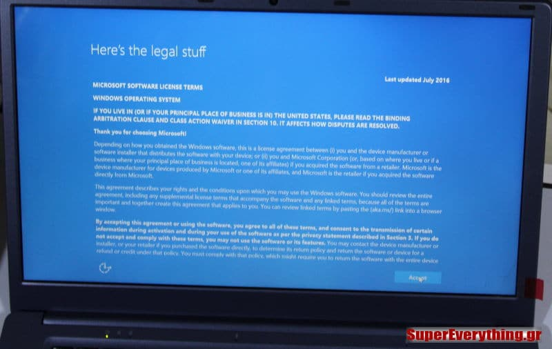 windows 10 legal screen