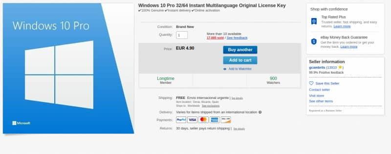 φθηνές άδειες windows 10 στο ebay