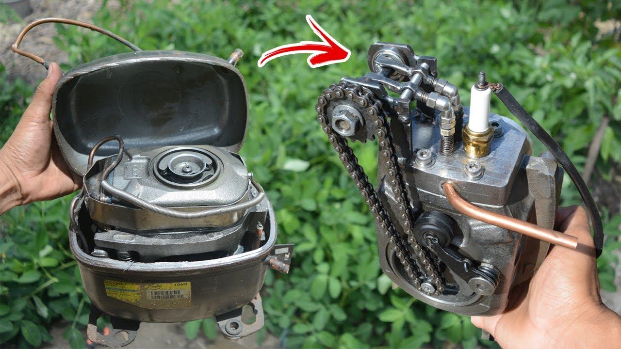 DIY βενζινοκινητήρας από συμπιεστή ψυγείου