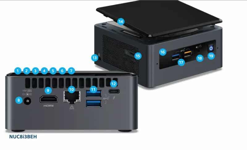θύρες σύνδεσης σε intel nuc BOXNUC8I3BEH2